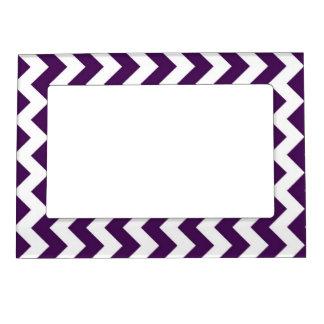 Zigzag púrpura y blanco foto de imanes