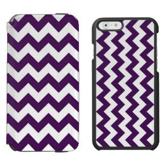 Zigzag púrpura y blanco funda billetera para iPhone 6 watson