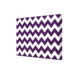 Zigzag púrpura y blanco impresiones en lona