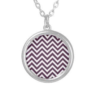 Zigzag púrpura y blanco oscuro colgante redondo