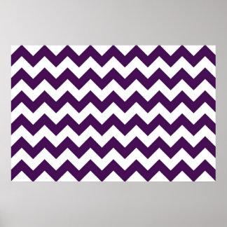Zigzag púrpura y blanco póster
