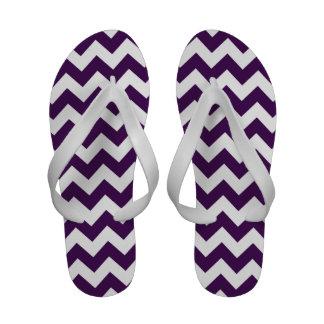 Zigzag púrpura y blanco sandalias