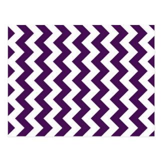 Zigzag púrpura y blanco tarjetas postales