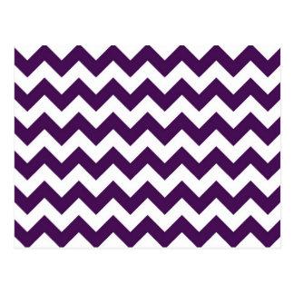 Zigzag púrpura y blanco tarjeta postal