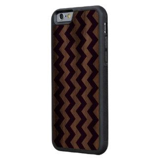 Zigzag púrpura y blanco vertical funda de iPhone 6 bumper nogal
