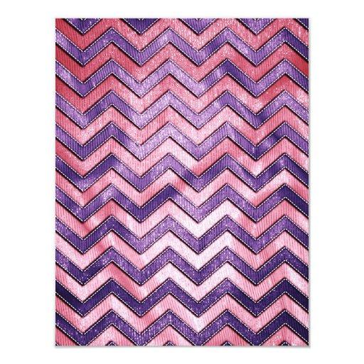 Zigzag púrpura y rosado invitación 10,8 x 13,9 cm