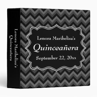 Zigzag Quinceanera Gray, Black and White 3 Ring Binder