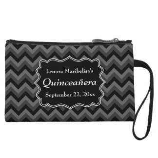 Zigzag Quinceanera Gray, Black and White Wristlet Wallet