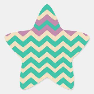 Zigzag rayado púrpura de la frontera pegatina en forma de estrella
