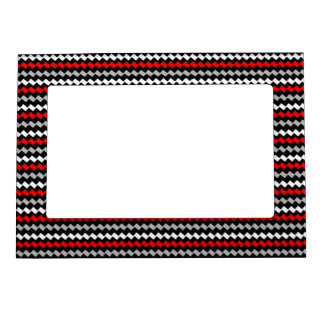 ZigZag Red White & Gray on Black Frame Magnets