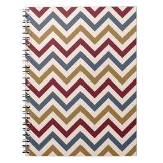 Zigzag Repeat Ptn Gold Red & Blue on Cream Notebook