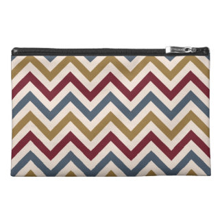 Zigzag Repeat Ptn Gold Red & Blue on Cream Travel Accessory Bag