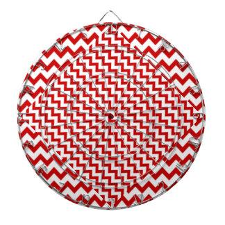 Zigzag rojo en blanco tabla dardos