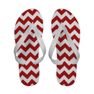 Zigzag rojo y blanco chanclas