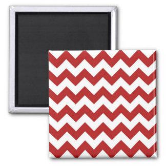 Zigzag rojo y blanco imán cuadrado