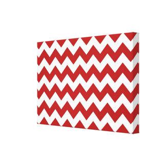Zigzag rojo y blanco impresión en lona estirada