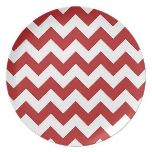 Zigzag rojo y blanco plato de cena