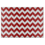 Zigzag rojo y blanco tabla de cortar