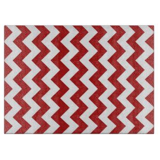 Zigzag rojo y blanco tabla para cortar