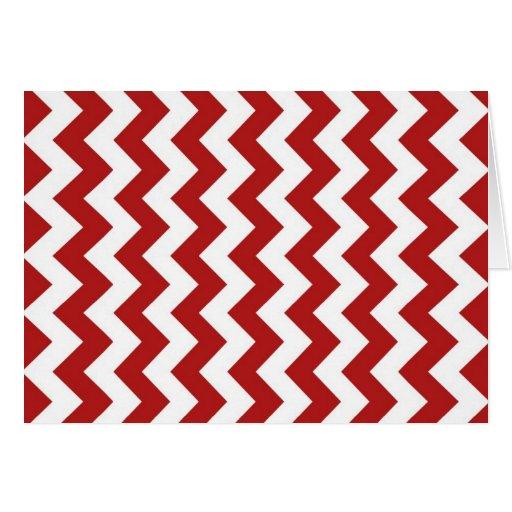 Zigzag rojo y blanco tarjeta