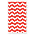 Zigzag rojo y blanco tarjeta personal