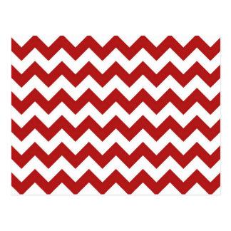 Zigzag rojo y blanco tarjetas postales