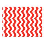 Zigzag rojo y blanco tarjeta postal