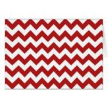Zigzag rojo y blanco tarjetas