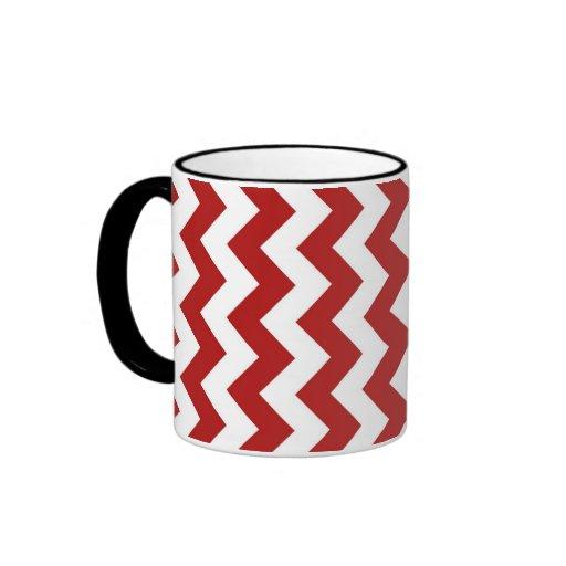 Zigzag rojo y blanco taza a dos colores