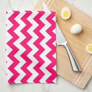Zigzag rosado brillante con monograma toallas de mano