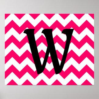Zigzag rosado brillante con monograma póster