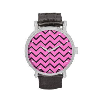 Zigzag rosado relojes de mano