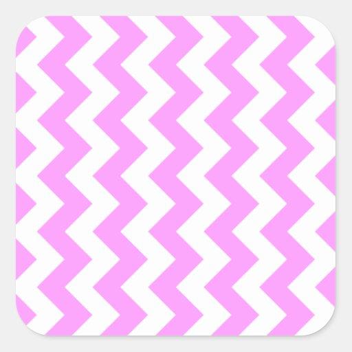 Zigzag rosado y blanco colcomanias cuadradass