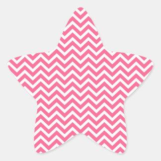 Zigzag rosado y blanco de Midi de Chevron Pegatina En Forma De Estrella
