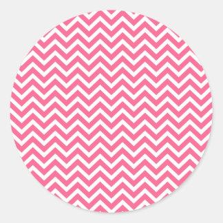 Zigzag rosado y blanco de Midi de Chevron Pegatinas Redondas