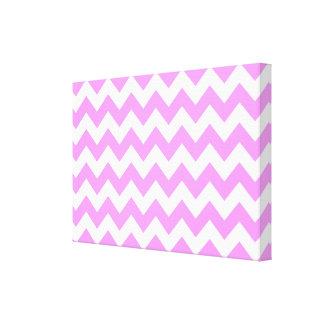 Zigzag rosado y blanco impresión en lona estirada