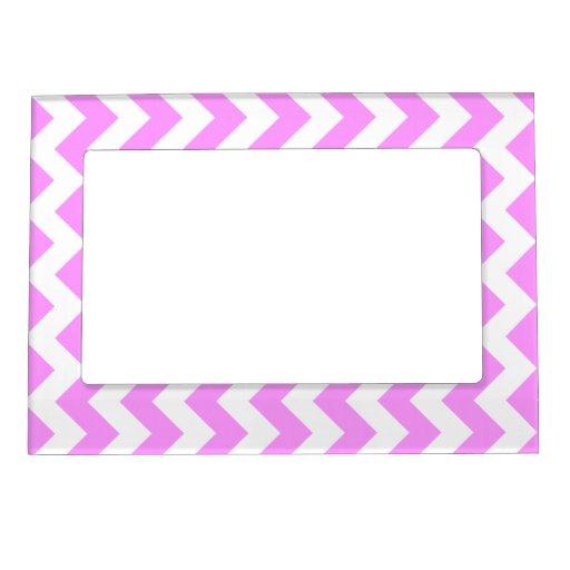 Zigzag rosado y blanco marcos magneticos de fotos