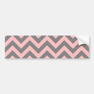 Zigzag rosado y gris etiqueta de parachoque