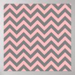 Zigzag rosado y gris poster
