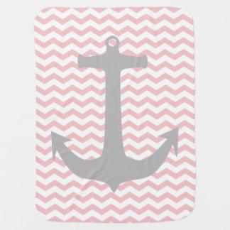 Zigzag rosado y manta náutica gris del bebé del manta de bebé