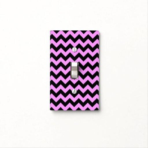 Zigzag rosado y negro placa para interruptor