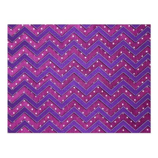 Zigzag rosado y púrpura del lunar tarjeta postal