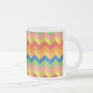 zigzag stripe Frosted Glass Coffee Mug