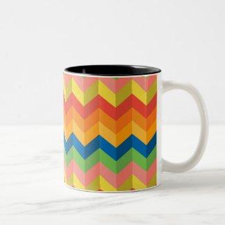 zigzag stripe Two-Tone Coffee Mug