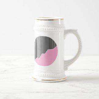Zigzag & Stripes - Black, Pink & White Beer Stein
