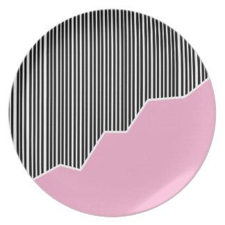 Zigzag & Stripes - Black, Pink & White Dinner Plate