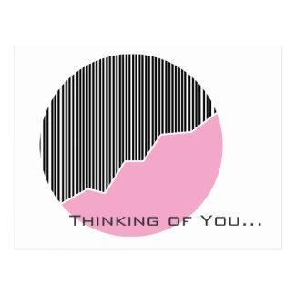Zigzag & Stripes Black Pink & White Greeting Card
