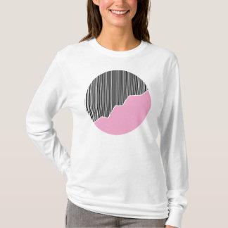Zigzag & Stripes - Black, Pink & White T-Shirt
