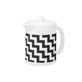 Zigzag Teapot, Black and White Chevrons Teapot