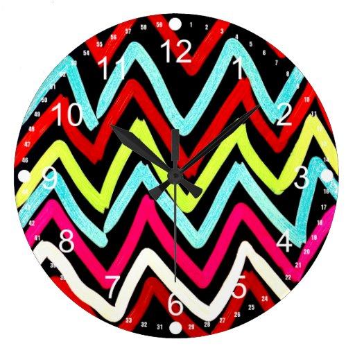 Zigzag tribal pintado colorido de Chevron de la di Reloj Redondo Grande